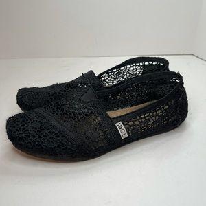Tom's Black Lace Flat Size 7